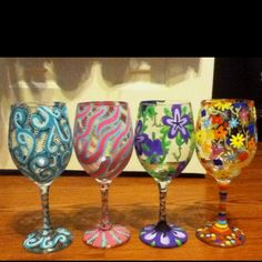 Fun hand painted glasses