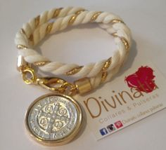 Hermosa pulsera de cordón de manta con medalla de san Benito!!❤️