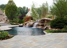 Backyard Swimming Pool Waterfall Design- Bergen County NJ - contemporary - pool - new york - by Cipriano Landscape Design & Custom Swimming Pools