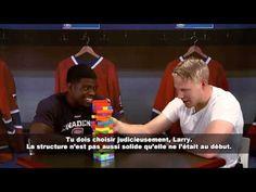 P.K. Subban et Lars Eller s'affrontent dans un duel de Jenga Tetris. // P.K. Subban and Lars Eller go head-to-head in a game of Jenga Tetris.