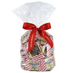 Ghirardelli Chocolate Large Milk Chocolate Peppermint Bark SQUARES Chocolates Gift Bag , 50 pcs $19.95