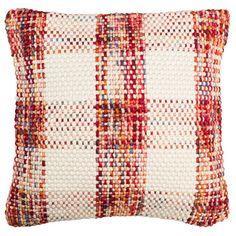 Safavieh Woven Plaid Throw Pillow, Red
