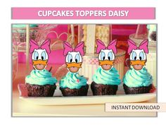 Daisy Duck Cupcake Topper, Daisy Cupcake Topper, daisy Cake Pop Topper, Mickey Mouse Clubhouse digital file, Circle Favor Tags 50%OFF by ANNILORACK on Etsy