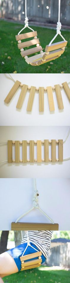idea for Tree swing Popsicle Stick Crafts, Craft Stick Crafts, Wood Crafts, Fun Crafts, Diy And Crafts, Popsicle Sticks, Barbie Furniture, Dollhouse Furniture, Diy Tree