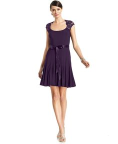 Xscape Dress, Cap-Sleeve Lace Pleated - Dresses - Women - Macys