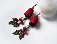 Silk Cocoon Earrings hand dyed red by mamzellefifi on Etsy Textile Jewelry, Fabric Jewelry, Jewelry Art, Beaded Jewelry, Earrings Handmade, Handmade Jewelry, Silk Art, Fabric Beads, Earring Tutorial