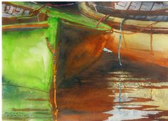 """green n yellow dory nova scotia  16"""" x 22""""  micheal zarowsky watercolour on arches paper / private collection"""