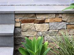 Eco Outdoor Alpine drystone walling close up with bluestone steps, design by Earthtone. | Eco Outdoor | Alpine…