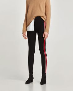 LEGGINGS WITH PIPED SIDE STRIPES from Zara