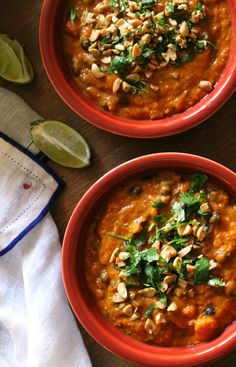 Warm fall spices make this sweet potato and peanut soup extra cozy and perfect to cuddle up with on chilly nights.