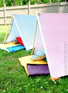 Kids Play + Camping Tent - 10 dollars to make +10 minutes to create!  Super simple creation that your kids will love!