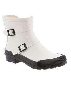 Another great find on #zulily! White & Black June Boot - Women #zulilyfinds