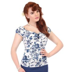 a5ec2c46ce Collectif Dolores 50s Style White Blue Toile Gypsy Top