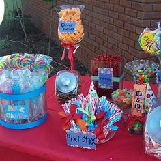 carnival party...love the circus peanuts and swirly lollipops.
