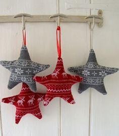 red and grey star ornaments