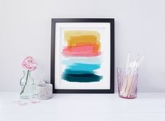 Navy and Pink Print, Turquoise Printable Art, Teal Art 8x10, Instant Download Art, Colorful Abstract Print, Downloadable Art, Pink Wall Art