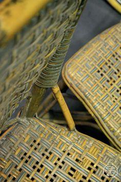 Chaises de bistrot parisien en rotin, années 1930