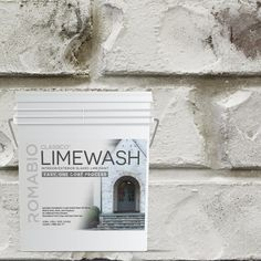 Transform your home with the old-world European appeal of this Cristallo White Limewash Interior/Exterior Paint by Romabio Classico Limewash. Specially designed to produce a unique effect on unpainted brick, stone or other masonry surfaces, this interior/exterior slaked-lime paint is simple to apply and will last for years. You don't need primer, and the breathable formula is non-toxic and UV resistant. After covering your selected damp surface with one coat, wash it off with a garden hose or sp Stucco Paint, Masonry Paint, Brick Masonry, Brick Fireplace, Paint Fireplace, Exterior Colors, Exterior Design, Interior And Exterior, Exterior Shutters