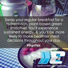 Swap your regular breakfast for a nutrient-rich, #plantbased Ergogenics #smoothie! #ErgoTips   Purchase our products here: www.ergogenicsnutrition.com Healthy Living Tips, Smoothie, Healthy Lifestyle, Healthy Recipes, Breakfast, Day, How To Make, Products, Morning Coffee