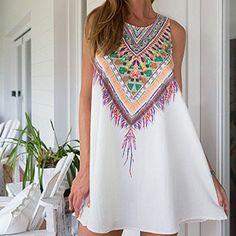 OURS Women's Summer Sleeveless Tribal Printed Casual Mini Beach Floral Tunic Dress: Amazon Fashion