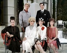"""James Fox, John Gavin, Beatrice Lily, Carol Channing, Julie Andrews and Mary Tyler Moore in """"Thoroughly Modern Millie."""""""