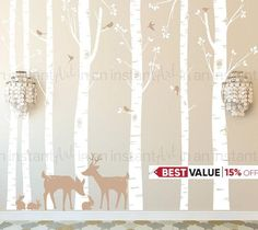 Custom Birch Tree Wall Decals for childrens rooms or a baby nursery are so easy to apply. Position each branch, leaf pattern and animals where you want to for the best layout in the room. Our set with Deer and bunnies is perfect for a Woodland room theme! This set comes with seven Birch Trees, 2 Deer, 9 Birds and 3 Bunnies. Birch Trunks are 101 or 108 tall The trees can be trimmed for walls that are shorter during application. For taller trees, please message us for pricing. Deer are 20-27…