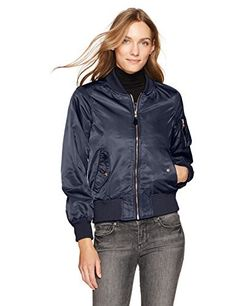 """Always delivering on-point style, the Steve Madden outerwear collection will be sure to get you through any winters chill!       Famous Words of Inspiration...""""Political language is designed to make lies sound truthful and murder respectable, and to give an appearance of...  More details at https://jackets-lovers.bestselleroutlets.com/ladies-coats-jackets-vests/denim-jackets/product-review-for-steve-madden-womens-satin-bomber-jacket/"""
