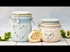 (533) Słoiki z malowanymi różyczkami - DIY tutorial - YouTube Pots, Scrapbooking, Diy Tutorial, Decoupage, Mason Jars, Recycling, Bottle, Crafts, Handmade