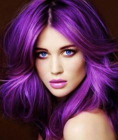 Mor Renkli Saç Modelleri