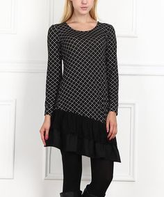 Look at this #zulilyfind! Black Ruffle Hem Tunic #zulilyfinds
