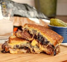 Grilled cheese with roast beef and carmelized red onions, that bread is perfectly grilled and the cheese is perfectly melted.