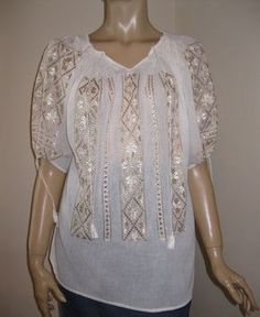 Hand embroidered Romanian blouse silver/golden by RealRomania, $119.00