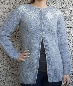 "This is an adult cardigan inspired by the many, many Frozen sweaters for little girls. I wanted to make something more grown up but still kind of ""frosted"" or ""Frozen"" like. I also love snowflakes as a pattern and being from Iceland … oh well it just all fits so well."