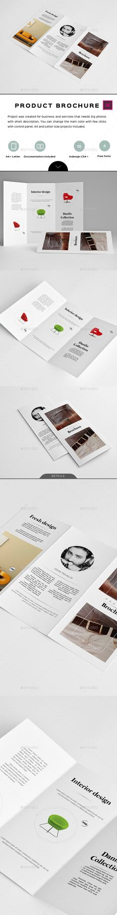 Product Trifold Brochure by Comforto  A4   Letter size, Compatible with Adobe Indesign CS4, CS5, CS5.5, CS6, CC Paragraph and Character Styles Aligned to a 6 Column Gr