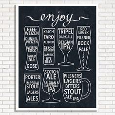 Enjoy Beer Print  Black & White  Bar Poster  by HEARTprintshop