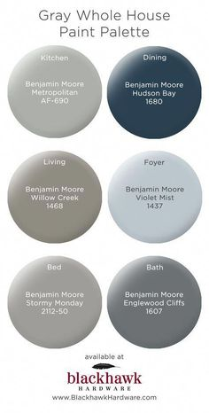 bedroom paint colors Gray Whole House Benjamin Moore Paint Palette The Hawaiian Exterior Paint Colors, Paint Colors For Home, House Colors, Bathroom Paint Colours, Paint Colors For Basement, Dinning Room Paint Colors, Basement Color Schemes, Modern Paint Colors, Exterior Paint Schemes