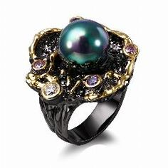 [ 22% OFF ] Dc1989 Elegant Flower Fresh Water Pearl Cubic Zirconia Gold & Black Plated Luxury Rings Style For Women (Zr14110)
