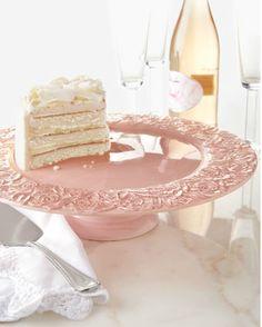 Delicate pink ceramic floral cake plate