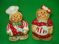 Christmas Gingerbread Man Woman Boy Girl Salt & Pepper Shaker Set Man & Woman
