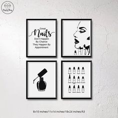 "Instant Download Nail Salon Decor, Nail Wall Art, Salon Decor, Nail Art, Set of 4 Prints, Nails Quote ""Great Nails Don't Happen By Chance, They Happen By Appointment"", Nail Polish Print, Nail Shapes Map Print, Nail Woman This nail salon print set makes a great addition to your salon"