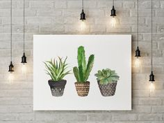 Cacti art print Printable art Watercolor cactus Hand painted watercolor botanical decor Printable wall art watercolor cacti art, house plant print, easily reduced to MADE WITH LOVE ♥ Art Aquarelle, Art Watercolor, Watercolor Plants, Watercolor Wedding, Cactus Painting, Cactus Wall Art, House Painting, Cactus House Plants, Cactus Cactus