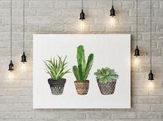 Cacti art print | Watercolor cactus | Hand painted watercolor cactus | cosy…