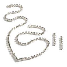 Swarovski Crystal Single Row Necklace Set - Bridal Jewellery - Crystal Bridal Accessories