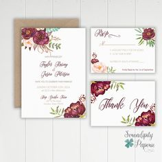 Romantic Floral Maroon Wedding Invitation por SerendipityPaperieCo