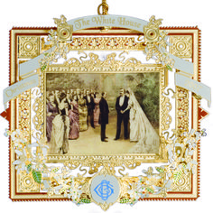 The 2007 White House Christmas Ornament. Depicting the marriage of American Gilded Age era, President Grover Cleveland. Who served in office as the 22nd (1885-1889) and 24th (1893-1897) president. ~ {cwl}