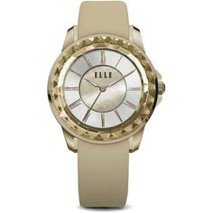 ELLE Watch - W1373 - RADIANT Ion Plated Gold Case with Sunray Dial and Gold Satin Leather Strap (38mm Case)
