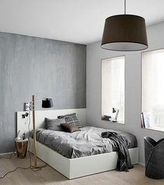 chambre a coucher chic en gris et blanc lustre design en noir, conforama chambre ado garcon