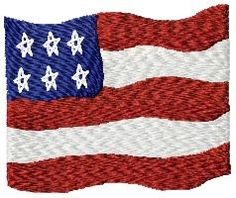 American Flag, Filled - 4x4 | Primitive | Machine Embroidery Designs | SWAKembroidery.com HeartStrings Embroidery