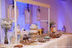 Ideia - fazer as letras no isopor para decorar palco  Bridal Shower Dessert Cake Table Cha de panela Love Birds
