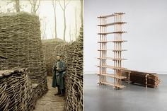 Left: Hans Hildenbrand, WW1 wooden trenches. Right: Lex Pott, Fragments of Nature
